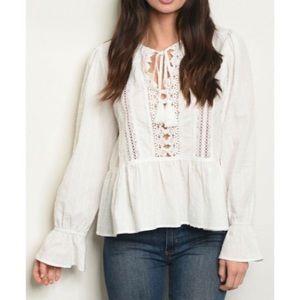 White Boho Crochet Top